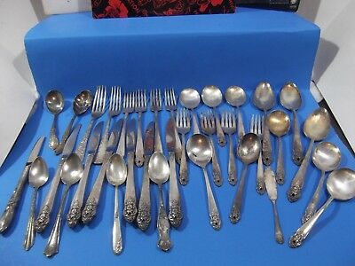 35 Vintage Silver Plate Flatware Mixed Lot/Antique/Art Deco/Jewelry Crafting Use