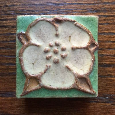 "Grueby Pottery matte glaze tile Arts & Crafts Mission 2 x 2"" Tudor Rose flower"