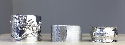 Antique Art Nouveau & Art Deco Solid Sterling Silver Napkin Rings Chester Signed