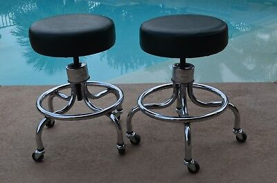 2 Matching Brewer Medical Industrial Stools Adjustable Forest Green Pick Up Only