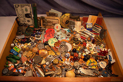 LOT Huge Estate Junk Drawer Military Novelty coins tokens Watches advertising ++