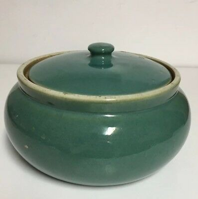 Vintage Pottery (Stoneware??) ~Unknown Maker~ Aqua Bean Pot with lid ~NICE