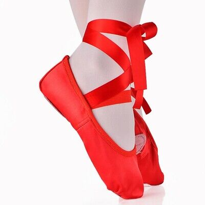 Kids Adults Soft Ballet Shoes Ribbon Strap Yoga Training Pointed Shoes Slippers