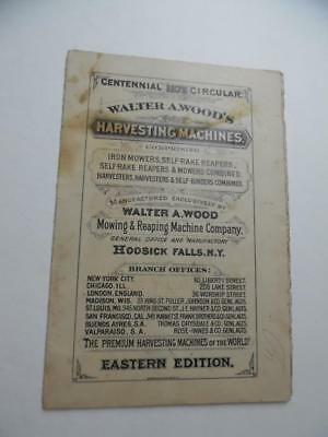 1876 Walter A Wood Mowing Reaping Machine Co. Centennial Exposition Brochure