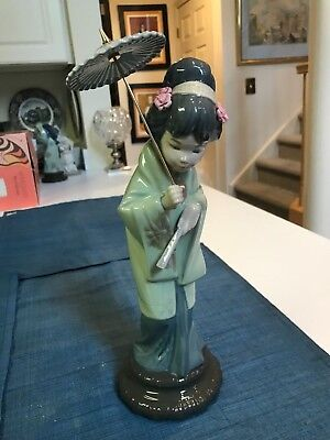 "RETIRED 11 3/4"" Lladro #4988 ORIENTAL SPRING GEISHA  FIGURINE Glazed MINT!!"