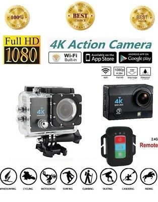 Action Camera 4K WiFi Underwater Waterproof Cam 12MP Sports Camera with Remote