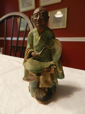 2 Antique Chinese Mud Pottery FIGURES MAN AND WOMAN-LATE 1890'S