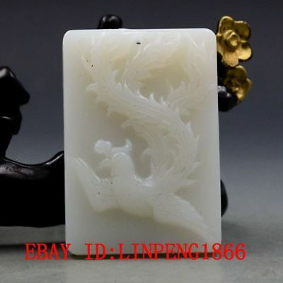 Chinese Natural Hetian Jade Hand-carved Phoenix Pendant L05-2