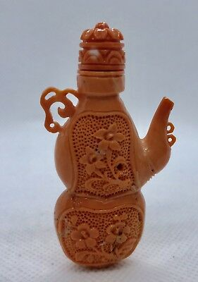 Fine Chinese 1920S Carved Coral Snuff Bottle Teapot