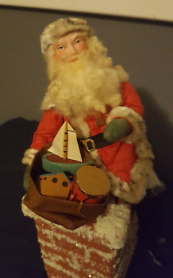 "Antique/vintage German""santa Sitting On The Chimney With Toys"" Candy Container!"