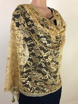 $6.99 Compare $29.99  Partywear Gold Dupatta Indian  Wedding Fancy  Scarf