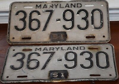 License Plate  PAIR  MARYLAND 1948 WITH 1951 TABS  367 - 930