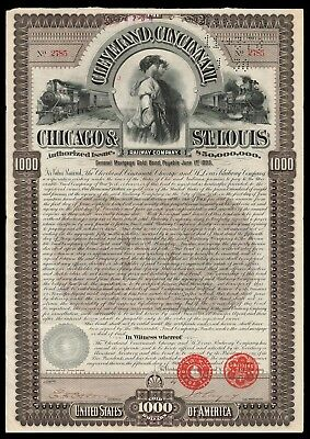 """1893 Big Four CCCSTL RWY (NYC Subsidiary) """"The Reapers"""" Gold Coin Bond WYSIWYG!"""