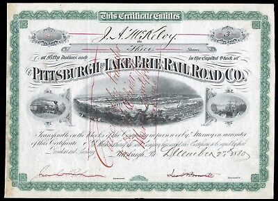 1880 Pittsburgh and Lake Erie RR (P&LE) 3 Share Stock Certificate VG+ WYSIWYG!