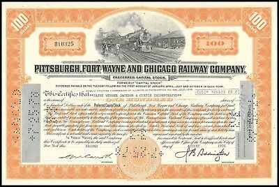 1976 Pittsburgh, Ft. Wayne and Chicago RWY (PRR) 100 Share Stock Certificate VF+