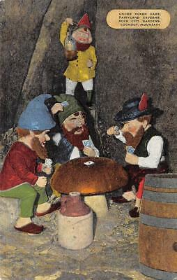 Gnome Poker Game, Rock City Gardens, Fairyland Caverns, TN ca 1940s Postcard