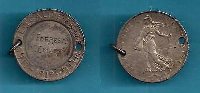 Ww-I Id Token - Engraved Forrest Emery On 1919 France Two Franc Coin