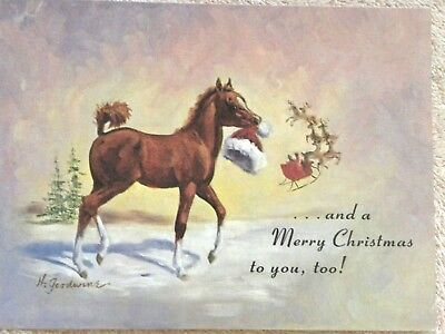 Vintage Leanin' Tree Hildred Goodwine 80s horse Christmas cards NIB set 6 RARE