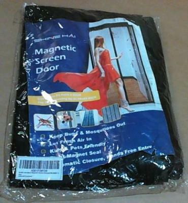"NEW Shine Hai Magnetic Screen Door w Heavy Duty Mesh Curtain 35.4"" x 82.7"" Black"