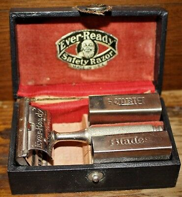 1914 EVER READY SAFETY RAZOR w/ 2 BLADE HOLDERS in ORIGINAL CASE