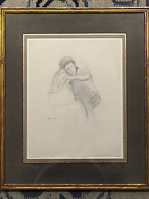 """drawing charcoal """"sitting"""" framed & signed by stuart kaufman 1926-2008"""