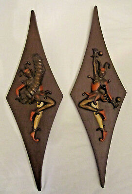 Pair 2 Vintage Mid Century Modern Burwood Products Court Jester Wall Plaque Art