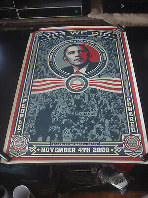 Shepard Fairey OBEY GIANT Obama YES WE DID 2008 November 4th Print Poster 24x36