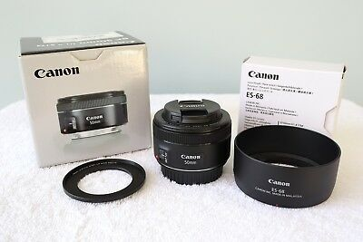 Canon EF 50mm f/1.8 STM Lens w/ Hood - Lightly used, excellent condition