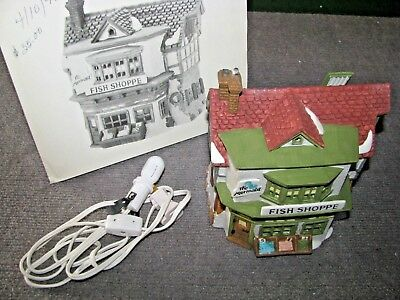 "Vintage Dept 56 Dickens Village ""The Mermaid Fish Shoppe"" #5926-9 Christmas"
