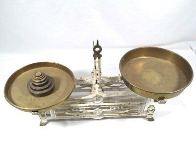 Antique J E 5kg Balance Scale With Original Brass Trays/ Weights Cast Iron Scale