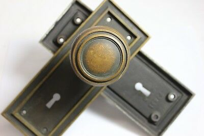 Antique Arts & Crafts Period Solid Brass Door Knobs and Heavy Back Plates