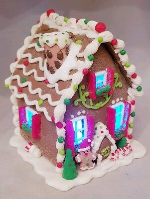 "Gingerbread House Brown Christmas Cookie Light Up Candy Clay-dough 6"" Kurt Adler"