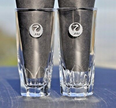 Jal Japan Airlines Set Of 2 Tall Shot Glasses Collectible Euc
