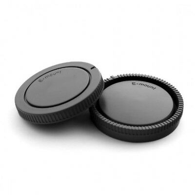 Set Rear Lens Cap + Camera Body Cover For Sony E-Mount NEX-7 A6000 A7 A7R Black