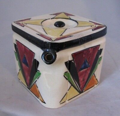 Interesting Vintage Art Deco Cube Shaped Teapot Hand Painted Made in Japan