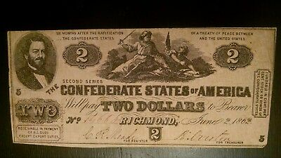 Civil War 1862 CONFEDERATE STATES OF AMERICA $2 NOTE T-42 THIRD SERIES VF
