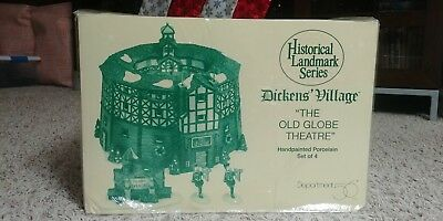 Dept 56 Heritage Dickens Village Historical The Old Globe Theater 4 pc Set NIB