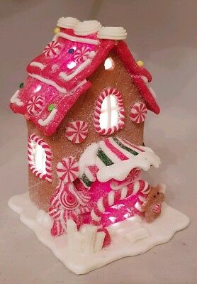 "Gingerbread Town House Brown Christmas LED Light Up Candy Cane 5.5"" Kurt Adler"