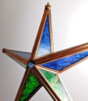 Large Stained Glass Copper 3D Star Sun Catcher Christmas Ornament Blue and Green