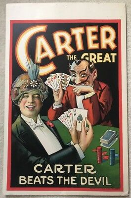 Original CARTER BEATS the DEVIL - WINDOW CARD POSTER - CARTER the GREAT