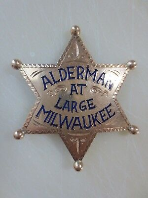 Obsolete Milwaukee Alderman at Large Solid Gold Badge