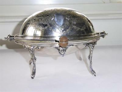 Antique W Hutton & Son Silver Plate Revolving Top Butter Dish Hand Chased W Face