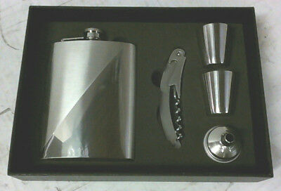 NEW Lou Silver 5pc Executive Set 8oz Flask Bottle Opener 2 Glasses Funnel $50