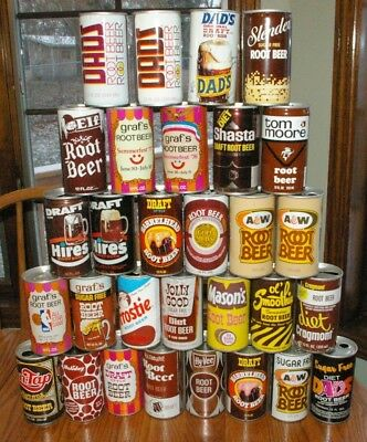 30 Vintage 1970's era Root Beer Pop Can Collection Some Great Cans!