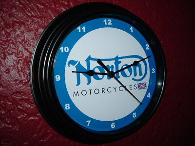 Norton Motorcycle Logo Garage Advertising Man Cave Wall Clock Sign