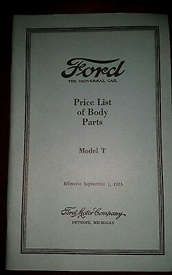 Ford Model T Cars list of body parts 1923