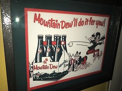 Mountain Dew Hillbilly Soda Fountain Diner Bar Advertising Man Cave Lighted Sign