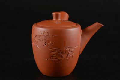 G1291: Japanese Tokoname-ware Brown pottery Crab sculpture TEAPOT Kyusu Sencha