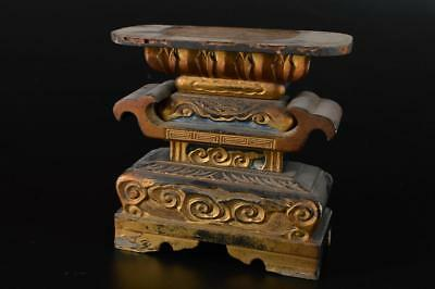 G1935: Japanese Wooden Cloud sculpture BUDDHIST STATUE TRAY Buddhist art