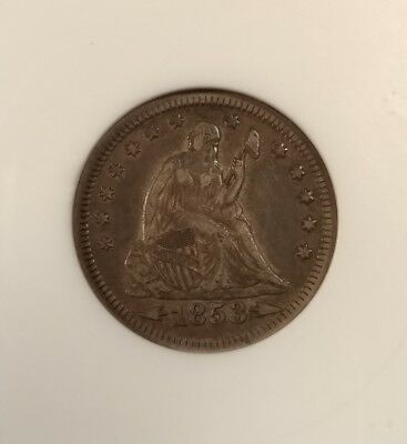 1853 seated quarter arrows and rays anacs ef 40 xf